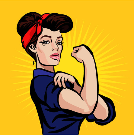 strong: Vector strong pin up girl illustration