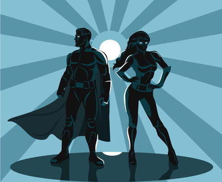 super hero: Superheroes silhouette vector illustration