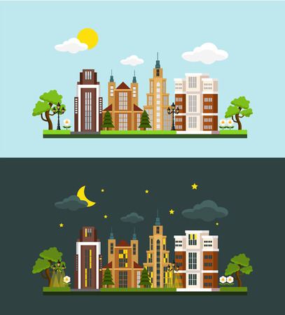 bulding: Vector megalopolis flat illustration