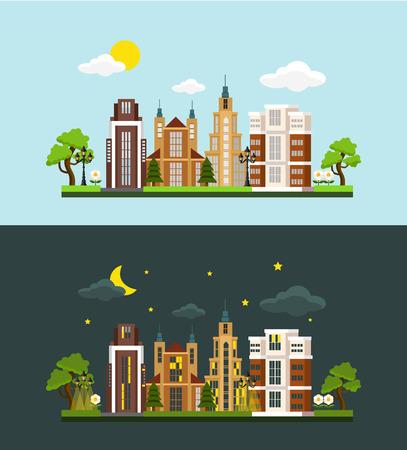 penthouse: Vector megalopolis flat illustration