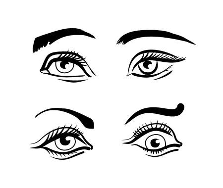 cilia: Vector eyes illustration set Illustration