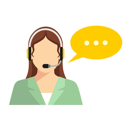 man customer support: Support manager icon. Vector illustration. Isolated on white background. Illustration
