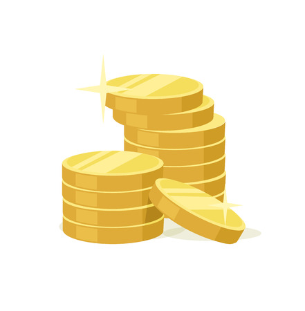dollar coins: Vector flat gold coins icon