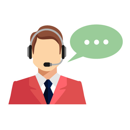 support center: Support manager icon. Vector illustration. Isolated on white background. Illustration