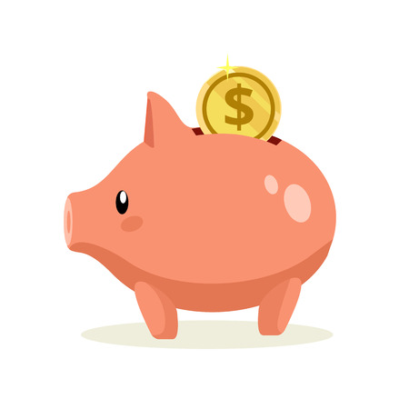 Vector flat piggy bank illustration