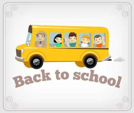 autobus escolar: Bandera de la escuela Vector Vectores