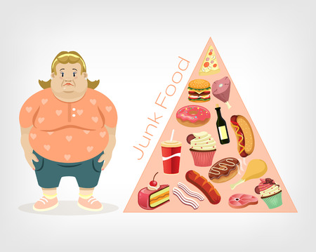 healthy meal: Vector fat woman flat illustration