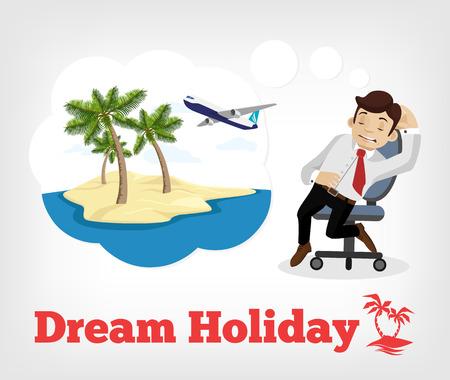 beach ad: Dream holiday. Vector flat illustration