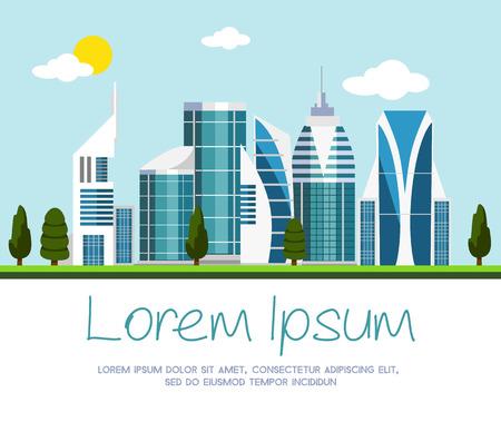 近代都市図のベクトル  イラスト・ベクター素材