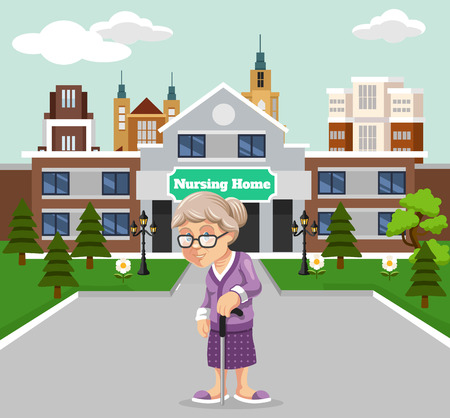 pensionado: Vector ilustración de un hogar de ancianos Vectores
