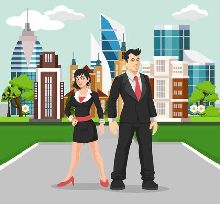Business people vector flat illustration Ilustracja