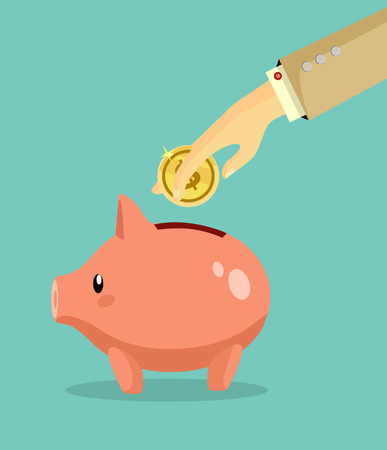 coin bank: Vector piggy bank flat illustration