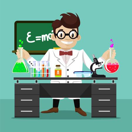 scientist man: Vector flat scientist illustration