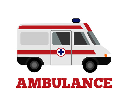 minivan: Vector ambulance flat illustration