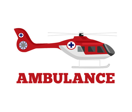 medical emergency service: Vector ambulance helicopter flat illustration