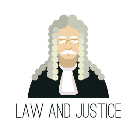 lawyer in court: Vector flat judge illustration Illustration