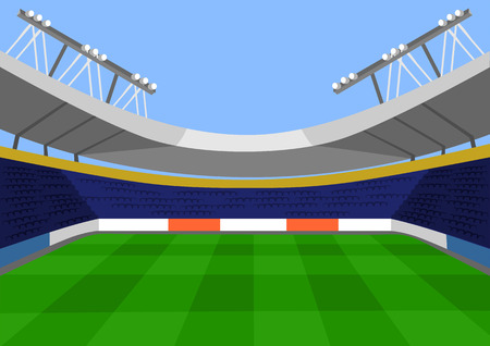 soccer stadium crowd: Vector football flat illustration Illustration