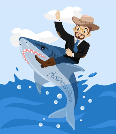 show bussiness: Businessman and bussiness shark. Vector flat illustration