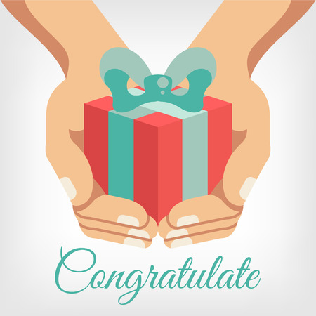 Vector congratulation flat illustration with gift box in hands Çizim