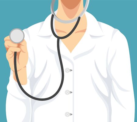 doctor visit: Doctor with stethoscope. Vector flat illustration