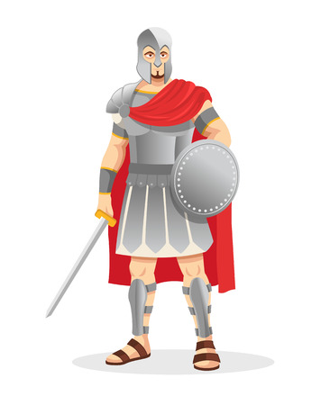 ancient soldiers: Gladiator. Vector illustration Illustration