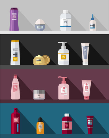cosmetics products: flat cosmetic bottles template set Illustration