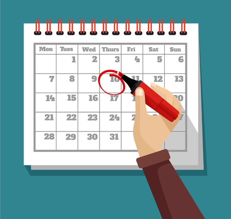 meses del a  ±o: ilustración del calendario plana
