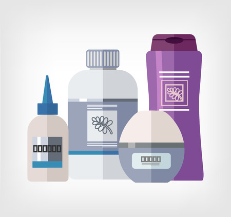 woman hygiene protection: Vector flat bottle template illustration Illustration