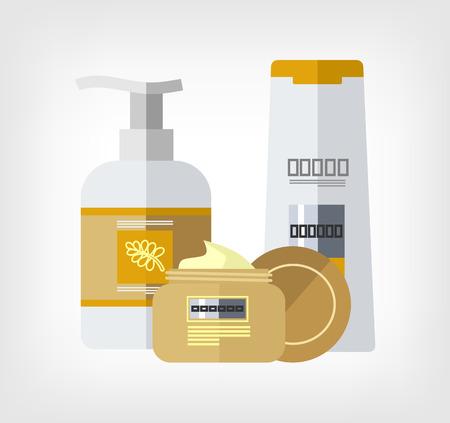 woman hygiene protection: flat bottle template illustration