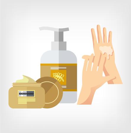 moisturizing: cream and hand flat illustration Illustration