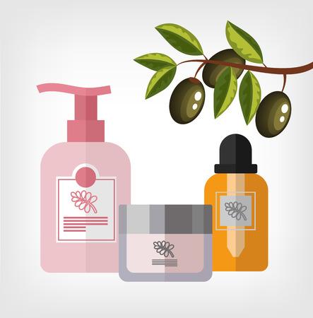 Vector flat olive cosmetics bottle template illustration