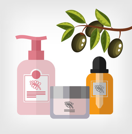 skin care products: Vector flat olive cosmetics bottle template illustration