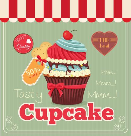 cupcake illustration: flat cupcake banner illustration
