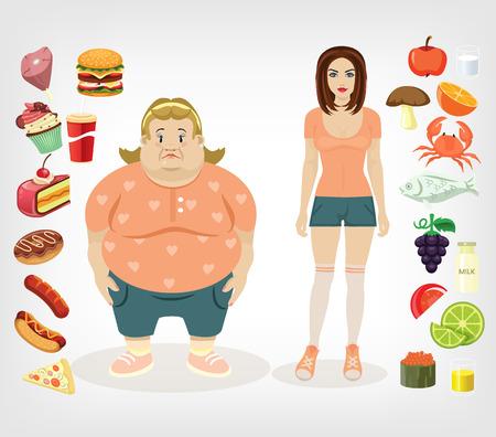 mujeres gordas: dieta plana ilustración Vectores