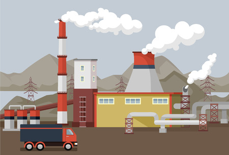 car factory: flat factory illustration
