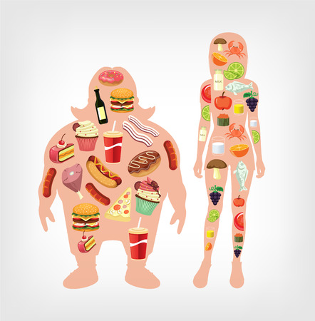 unhealthy diet: diet flat illustration