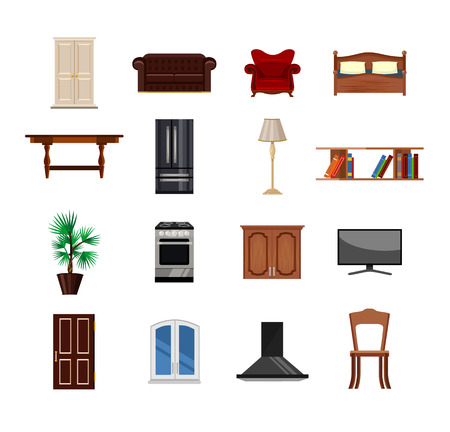 padded stool: furniture flat icon set Illustration