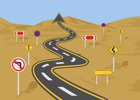 street sign: Vector wavy road flat illustration