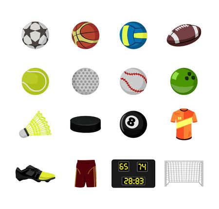 sport balls flat icon set Vector