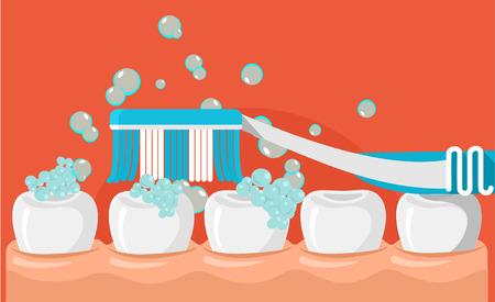 dientes caricatura: cepillarse los dientes plana ilustración
