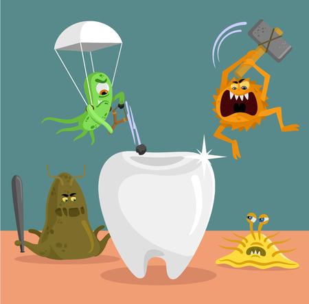 dientes caricatura: Diente y gérmenes plana ilustración Vectores