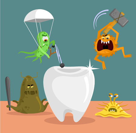 dirty teeth: Tooth and germs flat illustration