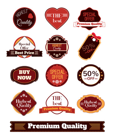e new: Vector vintage badges, stickers, ribbons, banners and labels. Creative graphic design illustrations. Isolated on white background Illustration