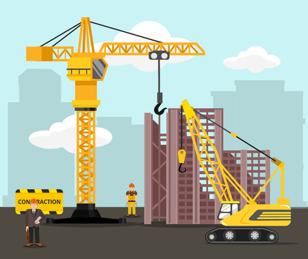 industrial construction: Construction and building vector flat illustration Illustration