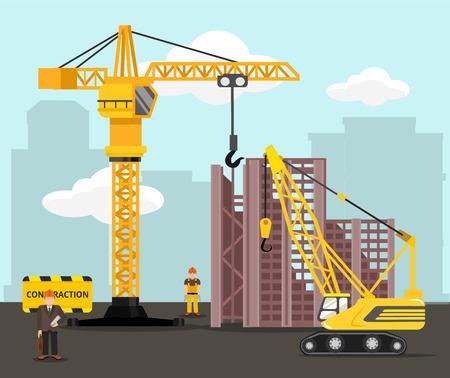 camion grua: La construcción y la construcción de ilustración vectorial plana