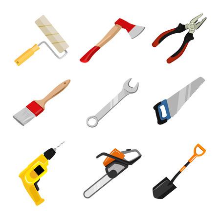 built: Vector construction tools icon set