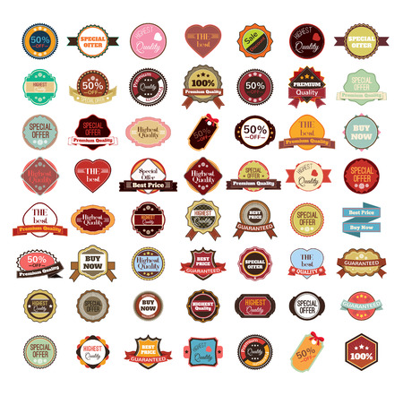 badge ribbon: Vector vintage badges, stickers, ribbons, banners and labels