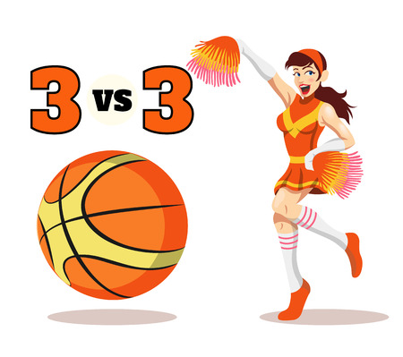 cheer leading: Vector flat basketball  illustration