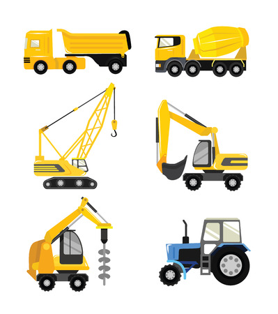 steamroller: Vector flat construction cars icon set