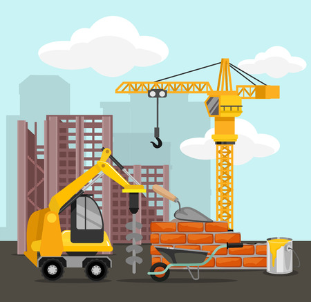 Construction and building vector flat illustration Illustration